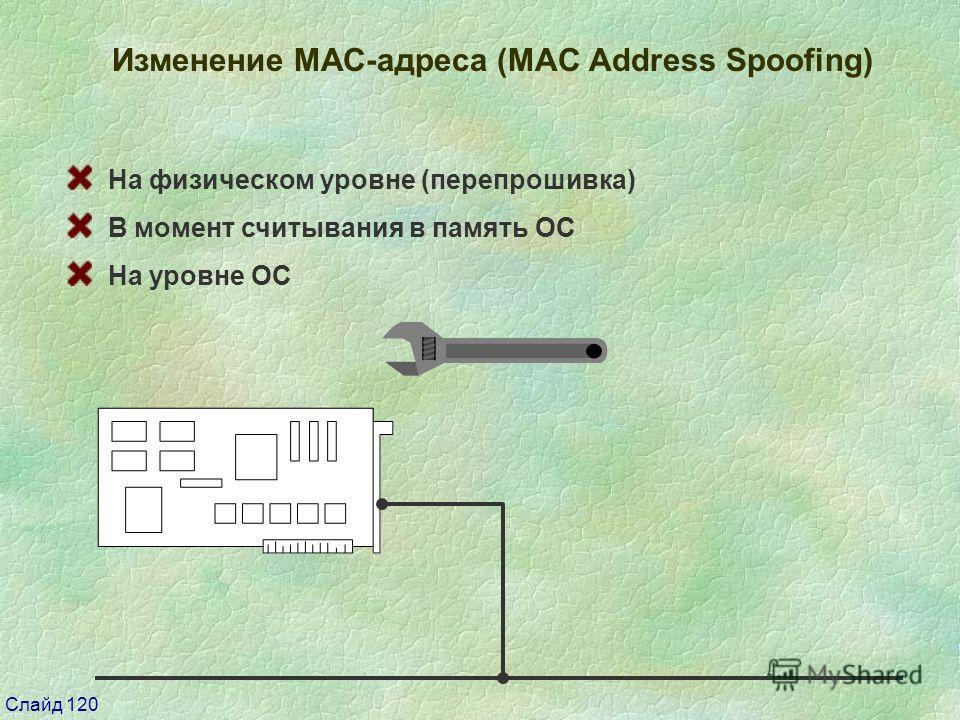 Слайд 120 Изменение МАС-адреса (MAC Address Spoofing) На физическом уровне (перепрошивка) В момент считывания в память ОС На уровне ОС