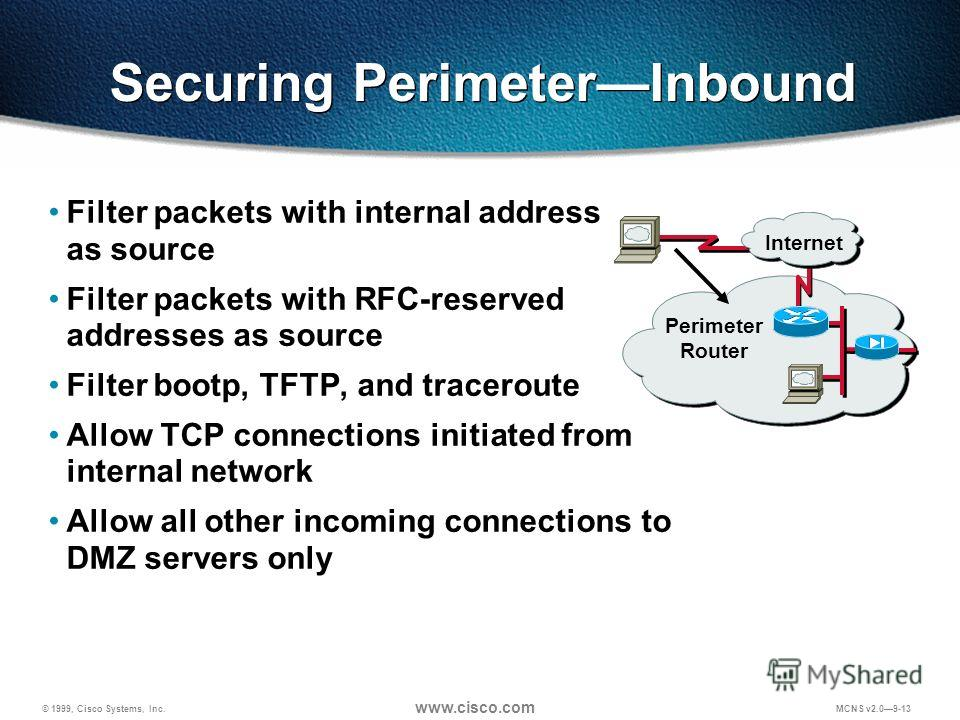 © 1999, Cisco Systems, Inc. www.cisco.com MCNS v2.09-13 Securing PerimeterInbound Filter packets with internal address as source Filter packets with RFC-reserved addresses as source Filter bootp, TFTP, and traceroute Allow TCP connections initiated f