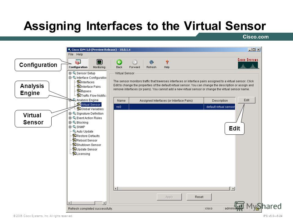 © 2005 Cisco Systems, Inc. All rights reserved. IPS v5.05-24 Assigning Interfaces to the Virtual Sensor Edit Virtual Sensor Analysis Engine Configuration