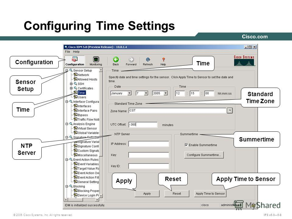 © 2005 Cisco Systems, Inc. All rights reserved. IPS v5.05-8 Configuring Time Settings Apply Standard Time Zone Sensor Setup Summertime NTP Server Apply Time to Sensor Configuration Reset Time