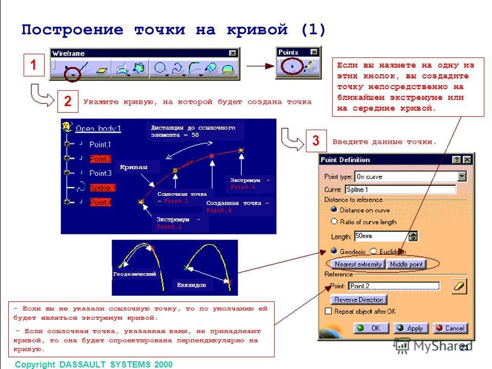 Copyright DASSAULT SYSTEMS 2000 23 1 2 3 Построение точки на кривой (1) Укажите кривую, на которой будет создана точка Если вы нажмете на одну из этих кнопок, вы создадите точку непосредственно на ближайшем экстремуме или на середине кривой. Введите
