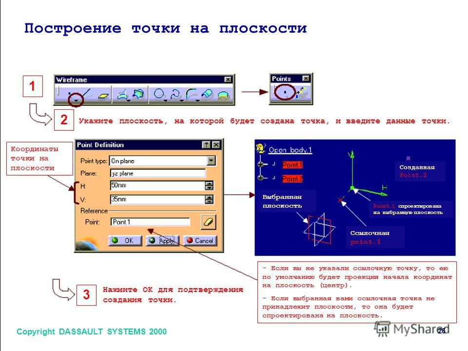 Copyright DASSAULT SYSTEMS 2000 26 1 2 3 Построение точки на плоскости Укажите плоскость, на которой будет создана точка, и введите данные точки. Нажмите ОК для подтверждения создания точки. Координаты точки на плоскости Выбранная плоскость Созданная