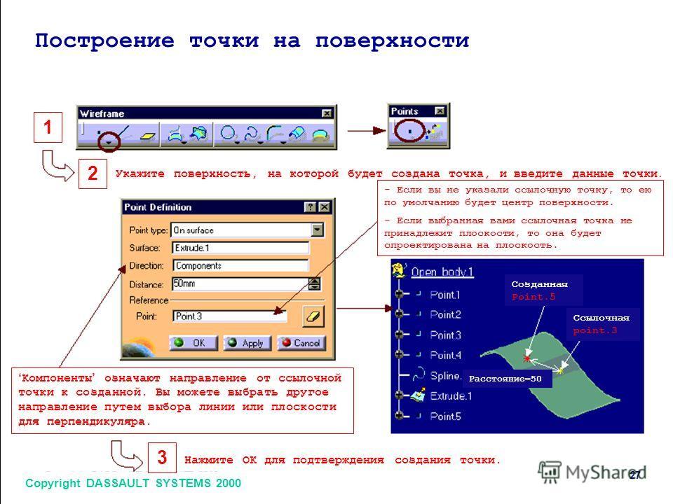 Copyright DASSAULT SYSTEMS 2000 27 1 2 3 Построение точки на поверхности Укажите поверхность, на которой будет создана точка, и введите данные точки. Нажмите ОК для подтверждения создания точки. - Если вы не указали ссылочную точку, то ею по умолчани