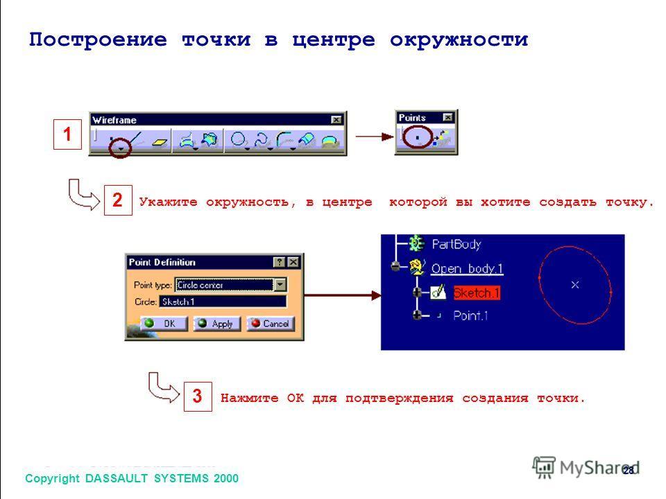 Copyright DASSAULT SYSTEMS 2000 28 1 2 3 Построение точки в центре окружности Укажите окружность, в центре которой вы хотите создать точку. Нажмите ОК для подтверждения создания точки.