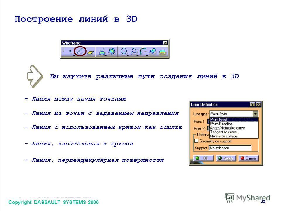 Copyright DASSAULT SYSTEMS 2000 35 Построение линий в 3D Вы изучите различные пути создания линий в 3D - Линия между двумя точками - Линия из точки с задаванием направления - Линия с использованием кривой как ссылки - Линия, касательная к кривой - Ли