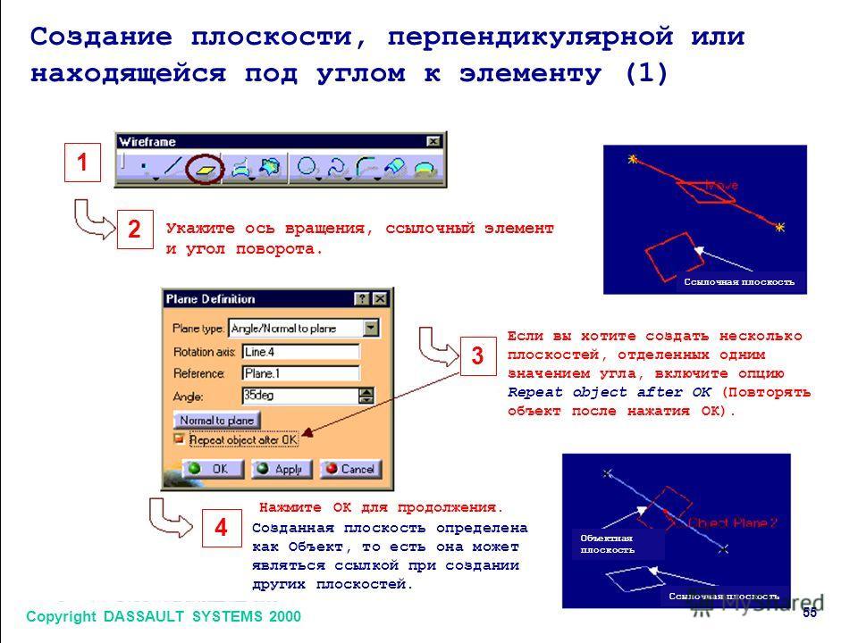 Copyright DASSAULT SYSTEMS 2000 5 1 2 3 4 Создание плоскости, перпендикулярной или находящейся под углом к элементу (1) Укажите ось вращения, ссылочный элемент и угол поворота. Если вы хотите создать несколько плоскостей, отделенных одним значением у
