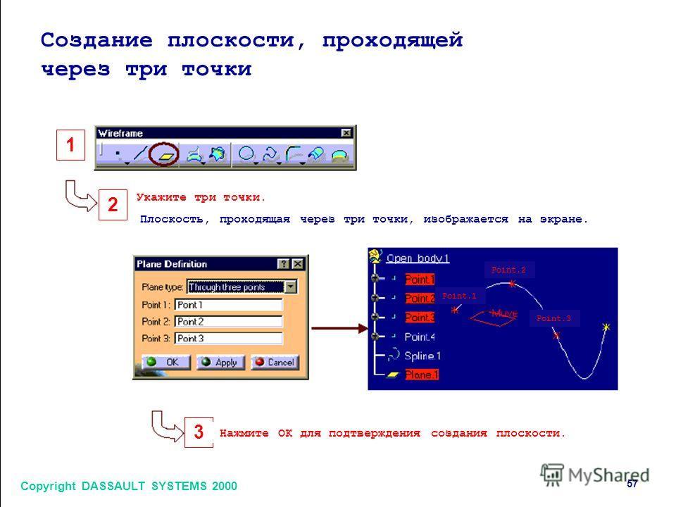Copyright DASSAULT SYSTEMS 2000 57 1 2 3 Создание плоскости, проходящей через три точки Укажите три точки. Плоскость, проходящая через три точки, изображается на экране. Нажмите ОК для подтверждения создания плоскости. Point.1 Point.2 Point.3