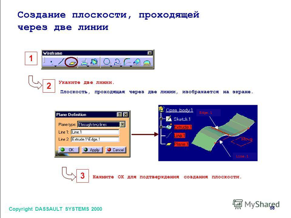 Copyright DASSAULT SYSTEMS 2000 58 1 2 3 Создание плоскости, проходящей через две линии Укажите две линии. Плоскость, проходящая через две линии, изображается на экране. Нажмите ОК для подтверждения создания плоскости. Edge.1 Line.1