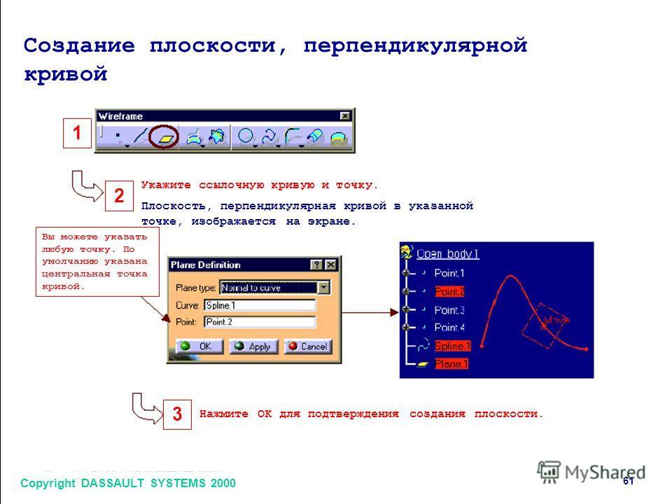 Copyright DASSAULT SYSTEMS 2000 6161 1 2 3 Создание плоскости, перпендикулярной кривой Укажите ссылочную кривую и точку. Плоскость, перпендикулярная кривой в указанной точке, изображается на экране. Нажмите ОК для подтверждения создания плоскости. Вы