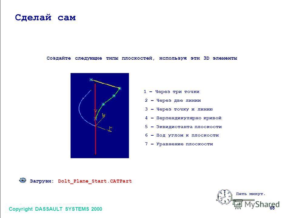 Copyright DASSAULT SYSTEMS 2000 65 Сделай сам Создайте следующие типы плоскостей, используя эти 3D элементы 1 – Через три точки 2 – Через две линии 3 – Через точку и линию 4 – Перпендикулярно кривой 5 – Эквидистанта плоскости 6 – Под углом к плоскост