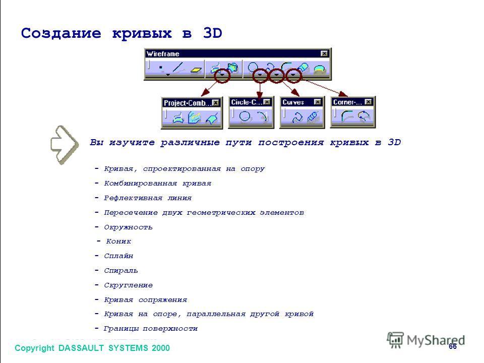 Copyright DASSAULT SYSTEMS 2000 66 Создание кривых в 3D Вы изучите различные пути построения кривых в 3D - Кривая, спроектированная на опору - Комбинированная кривая - Рефлективная линия - Пересечение двух геометрических элементов - Окружность - Кони