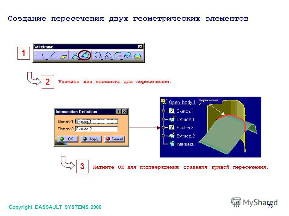 Copyright DASSAULT SYSTEMS 2000 7373 1 2 3 Создание пересечения двух геометрических элементов Укажите два элемента для пересечения. Нажмите ОК для подтверждения создания кривой пересечения. Пересечени е