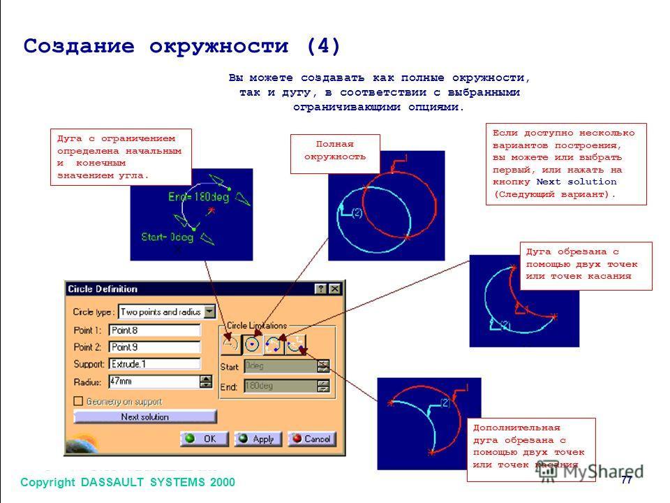 Copyright DASSAULT SYSTEMS 2000 7 Создание окружности (4) Вы можете создавать как полные окружности, так и дугу, в соответствии с выбранными ограничивающими опциями. Дуга с ограничением определена начальным и конечным значением угла. Полная окружност