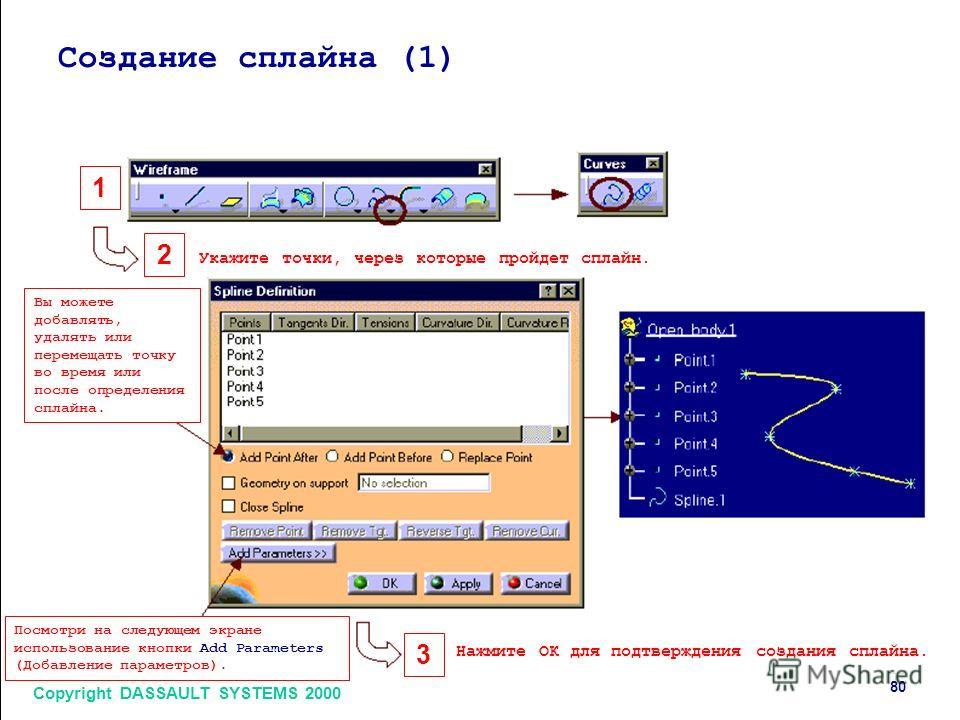 80 Copyright DASSAULT SYSTEMS 2000 Создание сплайна (1) 1 2 3 Укажите точки, через которые пройдет сплайн. Нажмите ОК для подтверждения создания сплайна. Вы можете добавлять, удалять или перемещать точку во время или после определения сплайна. Посмот