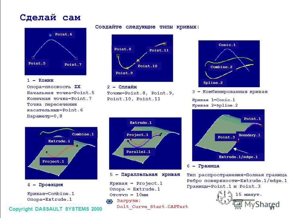 Copyright DASSAULT SYSTEMS 2000 91 Сделай сам Создайте следующие типы кривых: 1 – Коник Опора=плоскость ZX Начальная точка=Point.5 Конечная точка=Point.7 Точка пересечения касательных=Point.6 Параметр=0,8 2 – Сплайн Точки=Point.8, Point.9, Point.10,