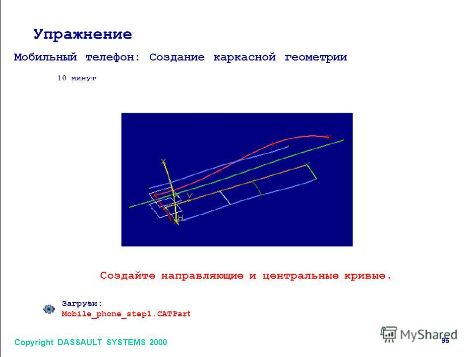 Copyright DASSAULT SYSTEMS 2000 96 Упражнение Мобильный телефон: Создание каркасной геометрии 10 минут Создайте направляющие и центральные кривые. Загрузи: Mobile_phone_step1. CATPar t