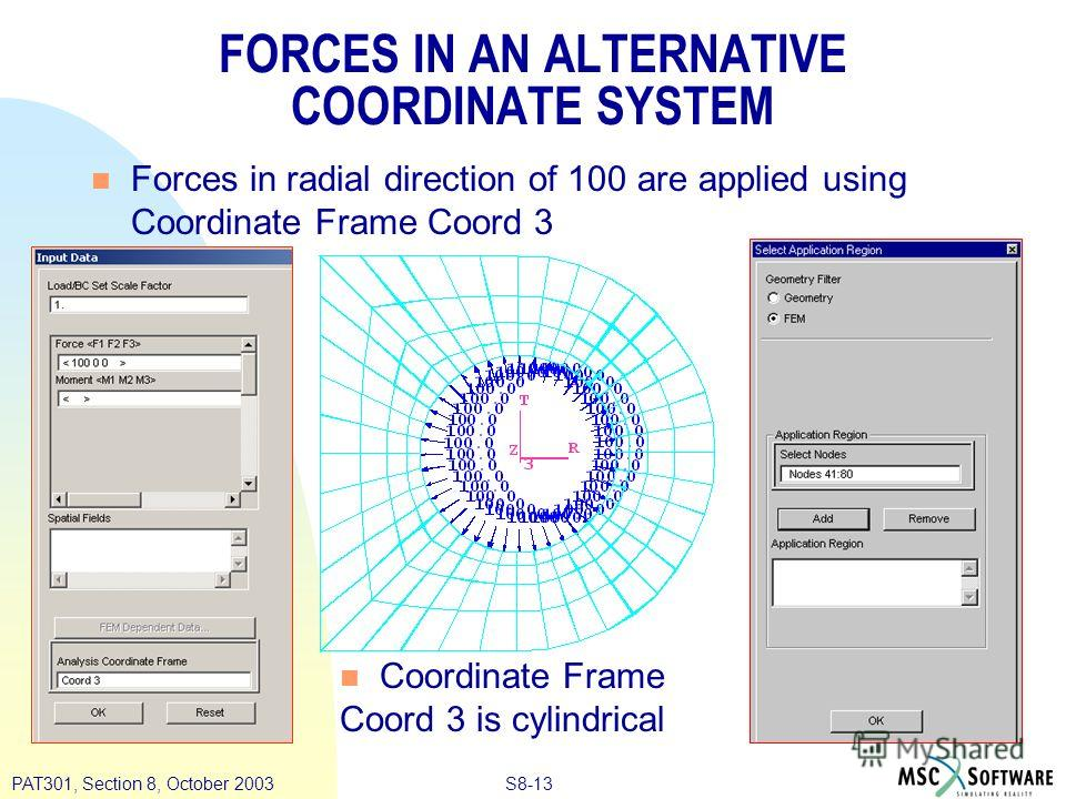 S8-13PAT301, Section 8, October 2003 FORCES IN AN ALTERNATIVE COORDINATE SYSTEM n Forces in radial direction of 100 are applied using Coordinate Frame Coord 3 n Coordinate Frame Coord 3 is cylindrical