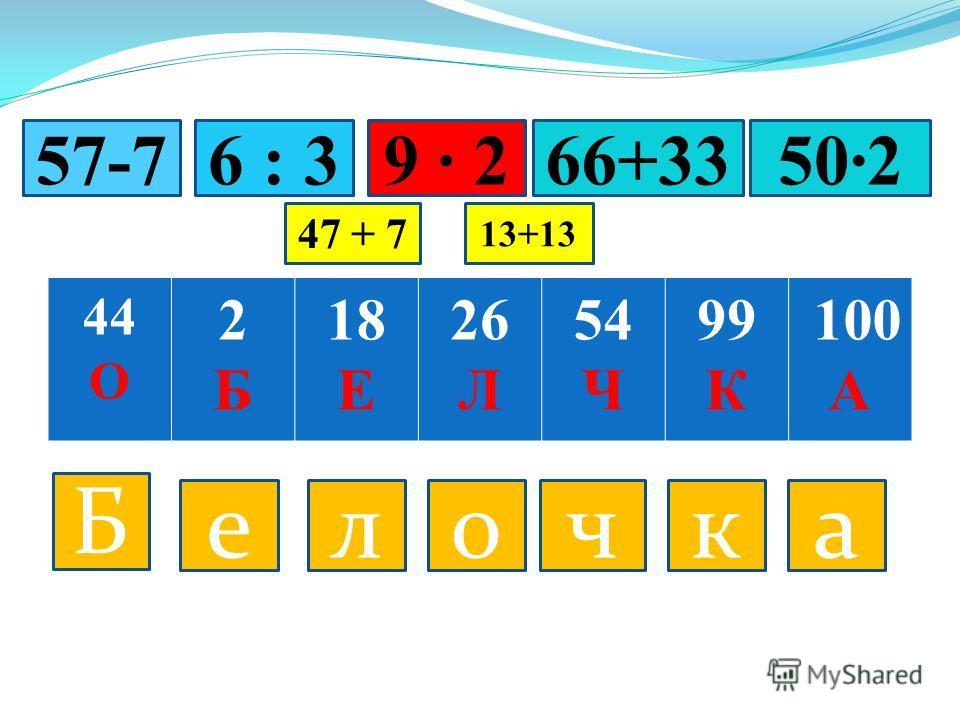 44 О 2Б2Б 18 Е 26 Л 54 Ч 99 К 100 А Б ел о ч к а 6 : 39 257-766+33502 47 + 7 13+13