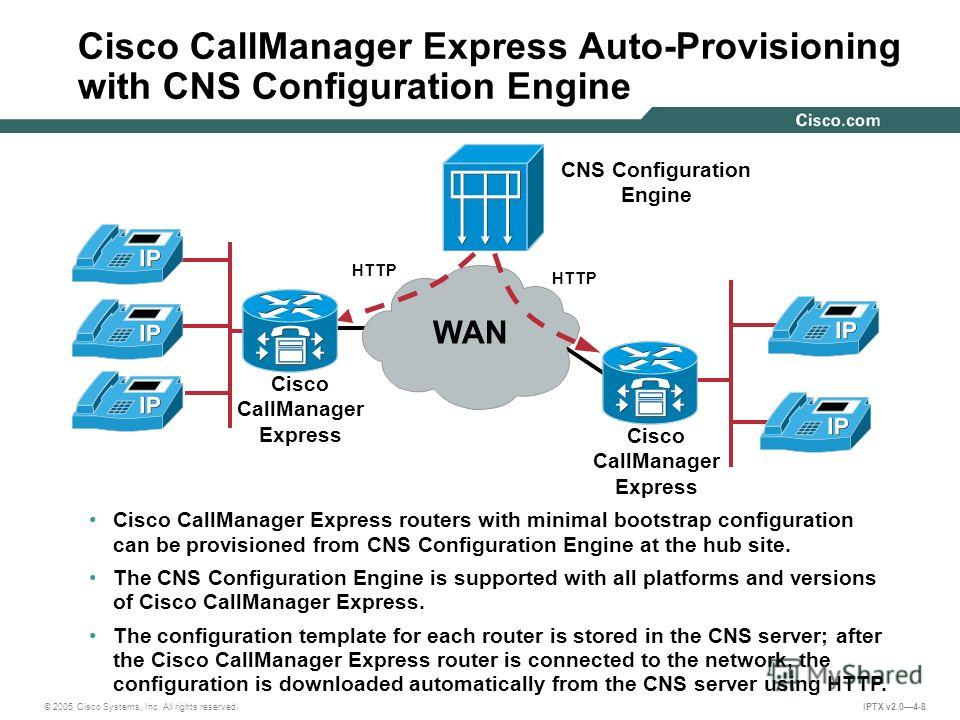 © 2005 Cisco Systems, Inc. All rights reserved. IPTX v2.04-8 Cisco CallManager Express Auto-Provisioning with CNS Configuration Engine HTTP Cisco CallManager Express CNS Configuration Engine HTTP Cisco CallManager Express routers with minimal bootstr
