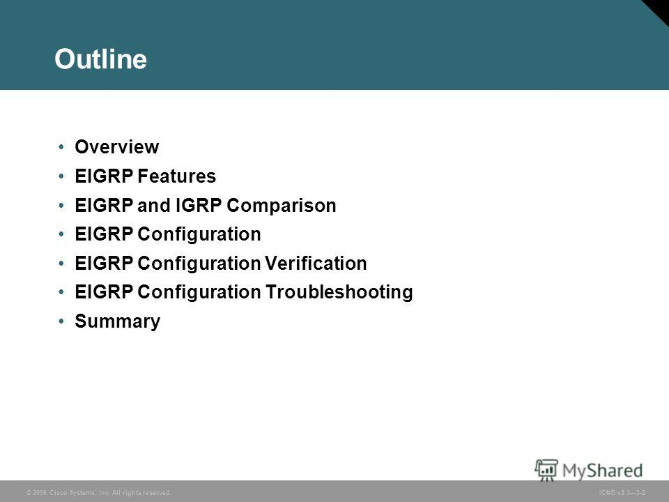 © 2006 Cisco Systems, Inc. All rights reserved. ICND v2.33-2 Outline Overview EIGRP Features EIGRP and IGRP Comparison EIGRP Configuration EIGRP Configuration Verification EIGRP Configuration Troubleshooting Summary