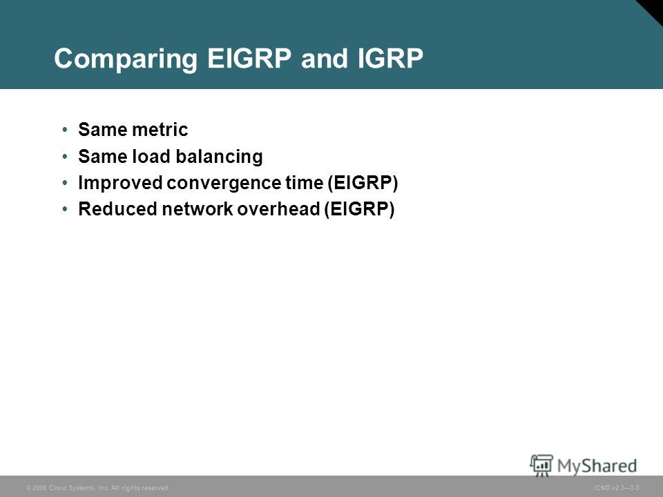 © 2006 Cisco Systems, Inc. All rights reserved. ICND v2.33-5 Comparing EIGRP and IGRP Same metric Same load balancing Improved convergence time (EIGRP) Reduced network overhead (EIGRP)