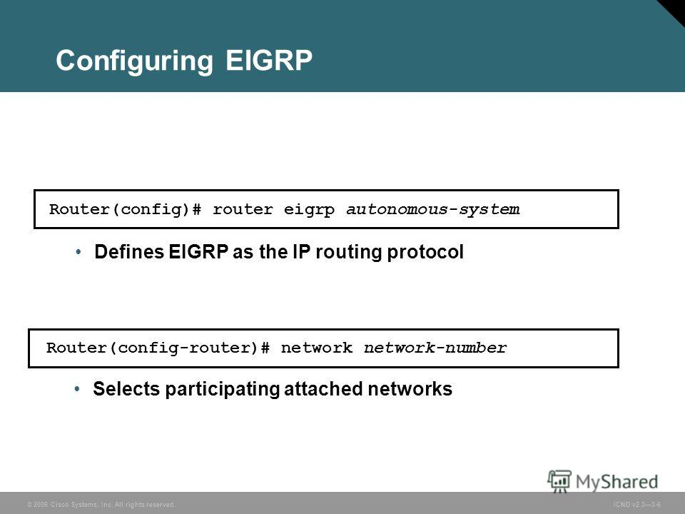 © 2006 Cisco Systems, Inc. All rights reserved. ICND v2.33-6 Configuring EIGRP Router(config-router)# network network-number Selects participating attached networks Router(config)# router eigrp autonomous-system Defines EIGRP as the IP routing protoc