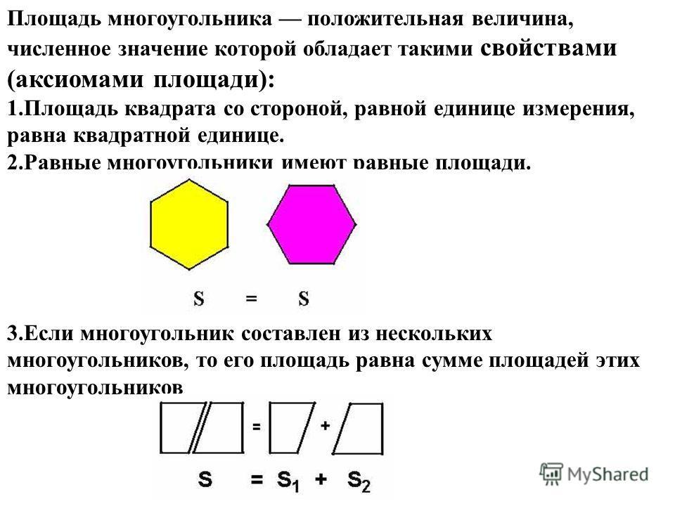 Площадь многоугольника положительная величина, численное значение которой обладает такими свойствами (аксиомами площади): 1. Площадь квадрата со стороной, равной единице измерения, равна квадратной единице. 2. Равные многоугольники имеют равные площа