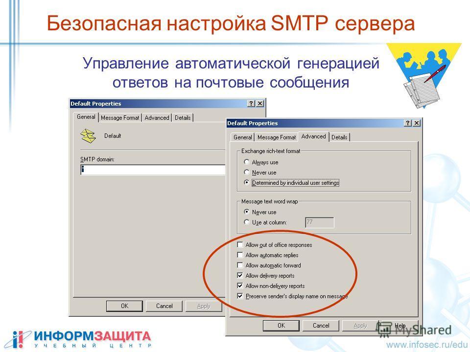 Безопасная настройка SMTP сервера Управление автоматической генерацией ответов на почтовые сообщения