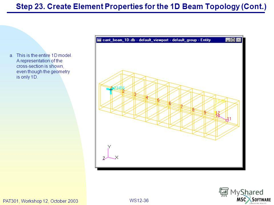 WS12-36 PAT301, Workshop 12, October 2003 Step 23. Create Element Properties for the 1D Beam Topology (Cont.) a.This is the entire 1D model. A representation of the cross-section is shown, even though the geometry is only 1D.