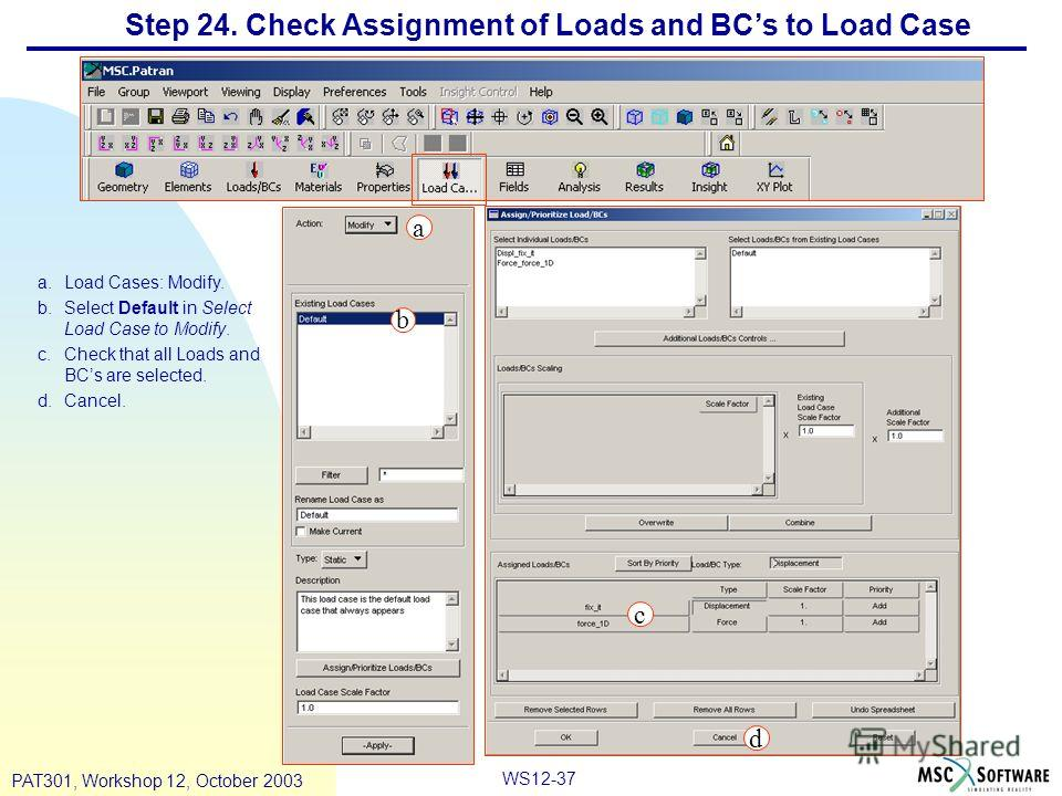 WS12-37 PAT301, Workshop 12, October 2003 Step 24. Check Assignment of Loads and BCs to Load Case a.Load Cases: Modify. b.Select Default in Select Load Case to Modify. c.Check that all Loads and BCs are selected. d.Cancel. a b c d