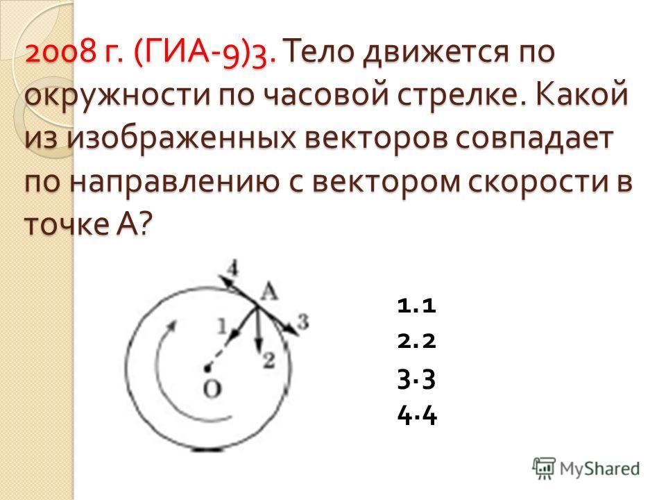 2008 г. ( ГИА -9)3. Тело движется по окружности по часовой стрелке. Какой из изображенных векторов совпадает по направлению с вектором скорости в точке А ? 1. 1 2. 2 3. 3 4. 4