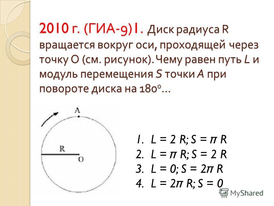 2010 г. ( ГИА -9)1. Диск радиуса R вращается вокруг оси, проходящей через точку О ( см. рисунок ). Чему равен путь L и модуль перемещения S точки А при повороте диска на 180 0 … 1. L = 2 R; S = π R 2. L = π R; S = 2 R 3. L = 0; S = 2 π R 4. L = 2 π R