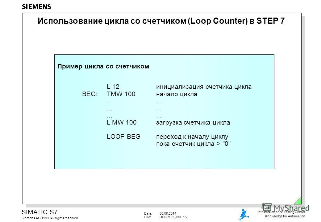 Date:30.09.2014 File:UPPROG_06E.15 SIMATIC S7 Siemens AG 1999. All rights reserved. Information and Training Center Knowledge for Automation Использование цикла со счетчиком (Loop Counter) в STEP 7 Пример цикла со счетчиком L 12 инициализация счетчик