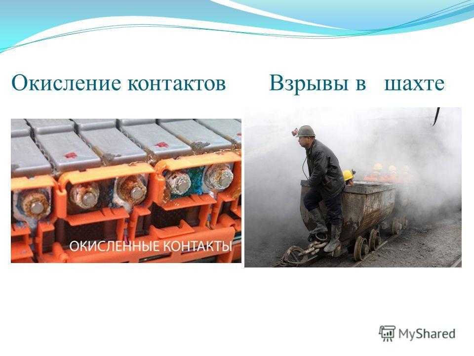 Окисление контактов Взрывы в шахте