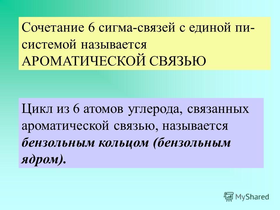 Сочетание 6 сигма-связей с единой пи- системой называется АРОМАТИЧЕСКОЙ СВЯЗЬЮ Цикл из 6 атомов углерода, связанных ароматической связью, называется бензольным кольцом (бензольным ядром).