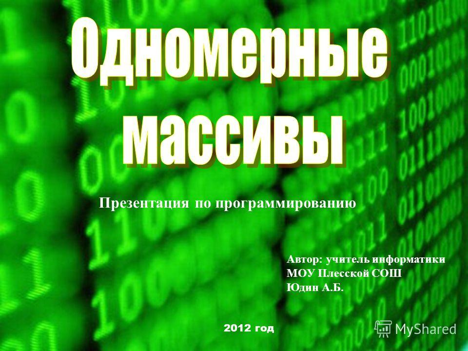 Презентация по программированию Автор: учитель информатики МОУ Плесской СОШ Юдин А.Б. 2012 год