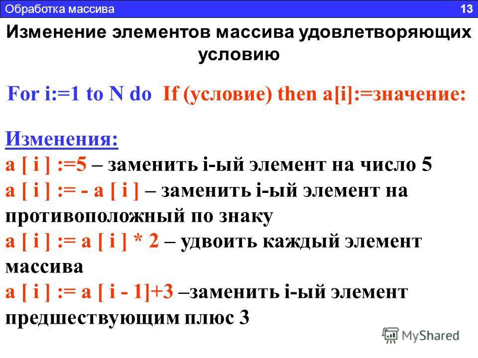 Изменение элементов массива удовлетворяющих условию For i:=1 to N do If (условие) then a[i]:=значение: Условия: a [ i ] > 0 – положительный элемент массива a [ i ] Mod 2 = 0 – четный элемент массива a [ i ] = int(a [ i ]) – целый элемент массива a [