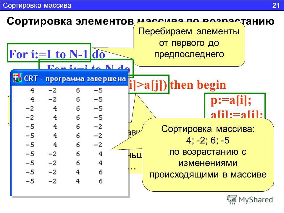 Сортировка элементов массива по возрастанию For i:=1 to N-1 do For j:=i to N do if (a[i]>a[j]) then begin p:=a[i]; a[i]:=a[j]; a[j]:=p; end; Сортировка массива 21 Перебираем элементы от первого до предпоследнего Перебираем от i-ого элемента до конца