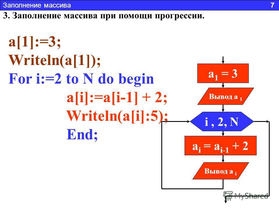 3. Заполнение массива при помощи прогрессии. Заполнить массив числами 3,5,7,9,11 и т.д. На первом месте стоит 3 На втором 3+2 = 5 На третьем 5+2 = 7 и т.д. То есть a i = a i - 1 + 2 Это арифметическая прогрессия. Заполнение массива 7 a[1]:=3; Writeln