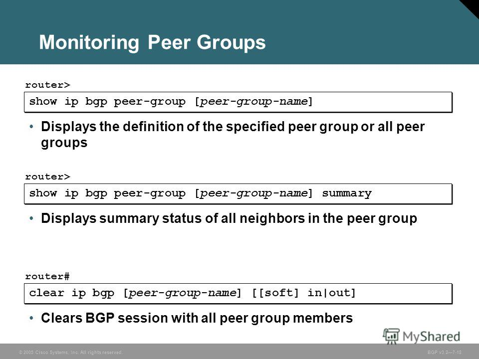 © 2005 Cisco Systems, Inc. All rights reserved. BGP v3.27-18 Monitoring Peer Groups show ip bgp peer-group [peer-group-name] router> Displays the definition of the specified peer group or all peer groups show ip bgp peer-group [peer-group-name] summa