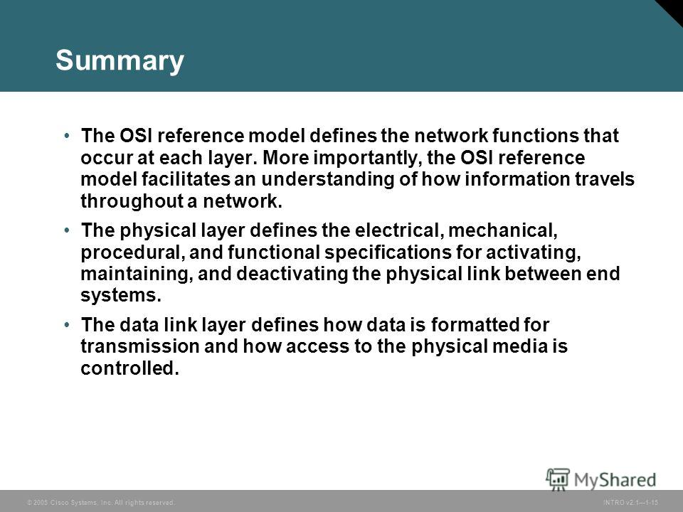 © 2005 Cisco Systems, Inc. All rights reserved.INTRO v2.11-15 Summary The OSI reference model defines the network functions that occur at each layer. More importantly, the OSI reference model facilitates an understanding of how information travels th
