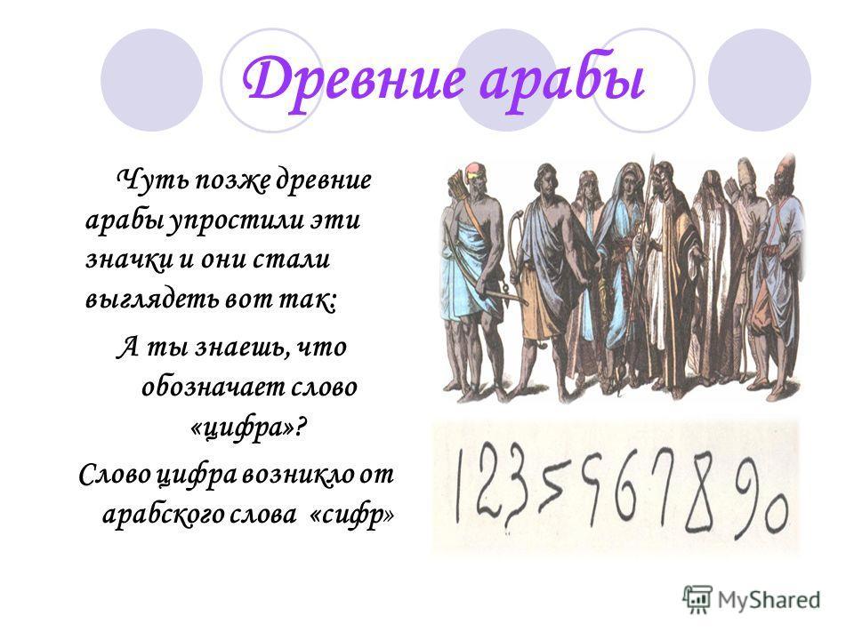 Древние арабы Чуть позже древние арабы упростили эти значки и они стали выглядеть вот так: А ты знаешь, что обозначает слово «цифра»? Слово цифра возникло от арабского слова «сифр»