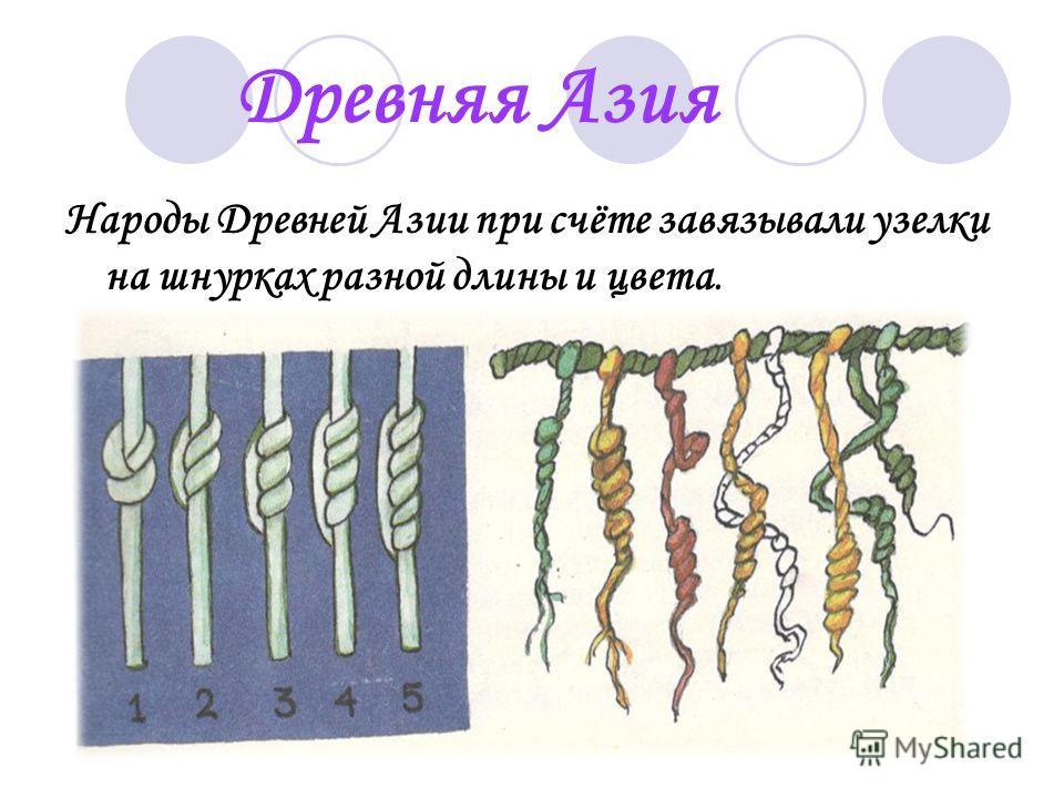 Древняя Азия Народы Древней Азии при счёте завязывали узелки на шнурках разной длины и цвета.