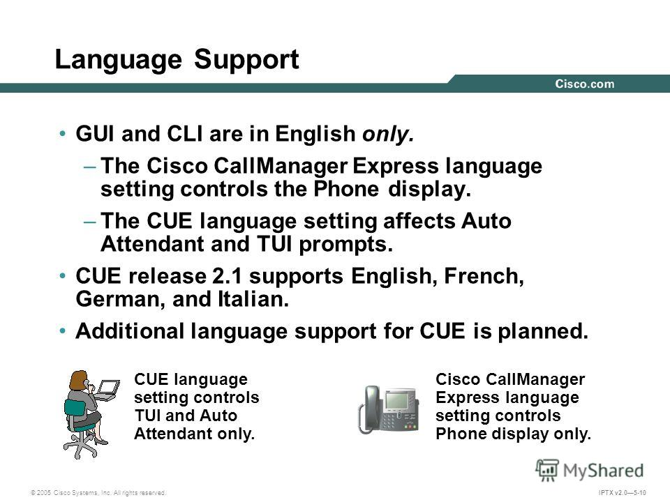 © 2005 Cisco Systems, Inc. All rights reserved. IPTX v2.05-10 Language Support CUE language setting controls TUI and Auto Attendant only. Cisco CallManager Express language setting controls Phone display only. GUI and CLI are in English only. –The Ci