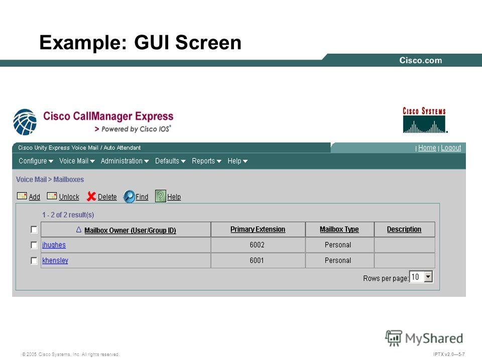 © 2005 Cisco Systems, Inc. All rights reserved. IPTX v2.05-7 Example: GUI Screen