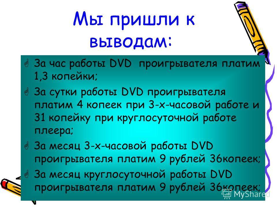 Мы пришли к выводам: За час работы DVD проигрывателя платим 1,3 копейки; За сутки работы DVD проигрывателя платим 4 копеек при 3-х-часовой работе и 31 копейку при круглосуточной работе плеера; За месяц 3-х-часовой работы DVD проигрывателя платим 9 ру