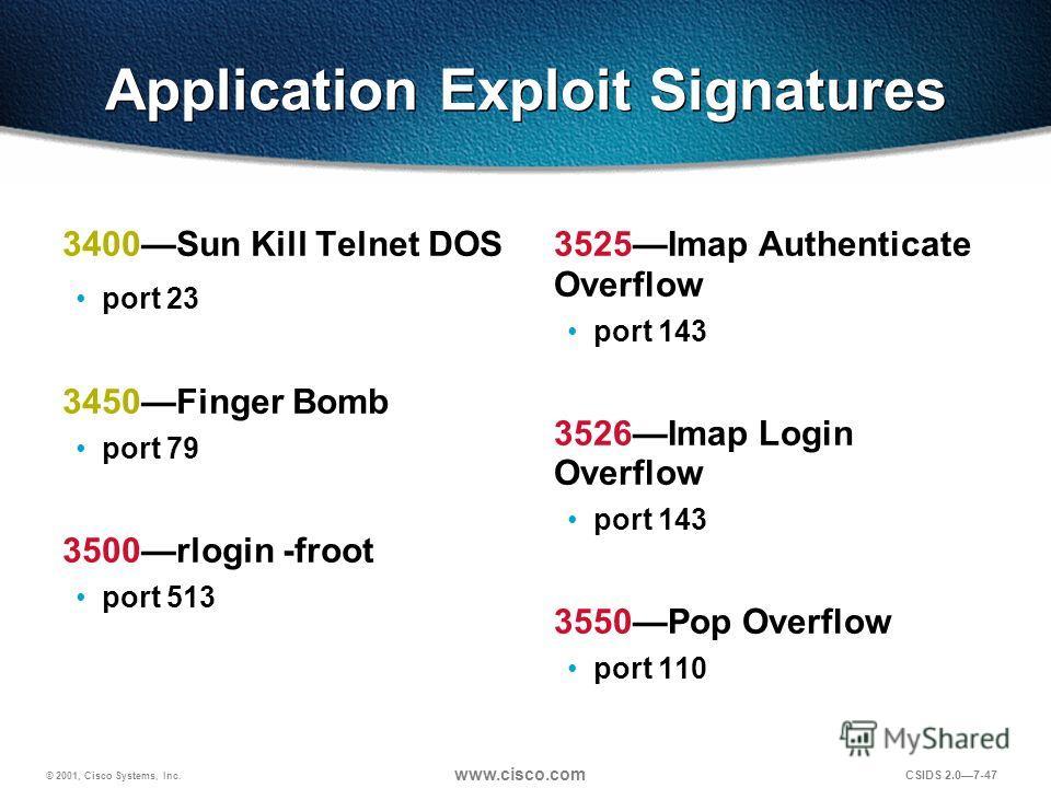 © 2001, Cisco Systems, Inc. www.cisco.com CSIDS 2.07-47 Application Exploit Signatures 3400Sun Kill Telnet DOS port 23 3450Finger Bomb port 79 3500rlogin -froot port 513 3525Imap Authenticate Overflow port 143 3526Imap Login Overflow port 143 3550Pop