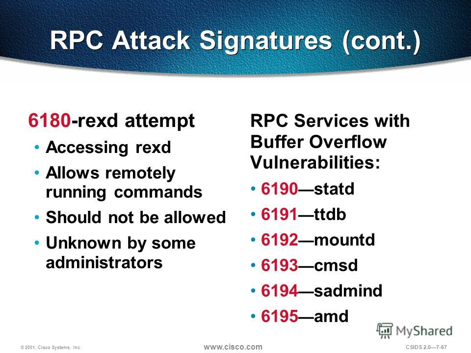 © 2001, Cisco Systems, Inc. www.cisco.com CSIDS 2.07-67 RPC Attack Signatures (cont.) 6180-rexd attempt Accessing rexd Allows remotely running commands Should not be allowed Unknown by some administrators RPC Services with Buffer Overflow Vulnerabili