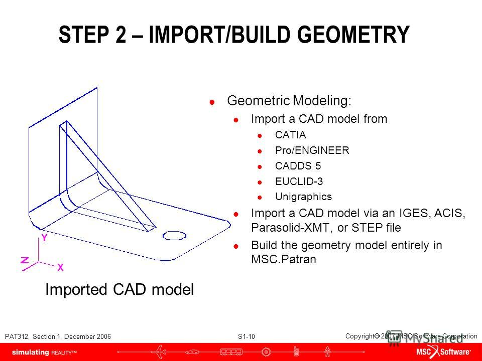 PAT312, Section 1, December 2006 S1-10 Copyright 2007 MSC.Software Corporation l Geometric Modeling: l Import a CAD model from l CATIA l Pro/ENGINEER l CADDS 5 l EUCLID-3 l Unigraphics l Import a CAD model via an IGES, ACIS, Parasolid-XMT, or STEP fi