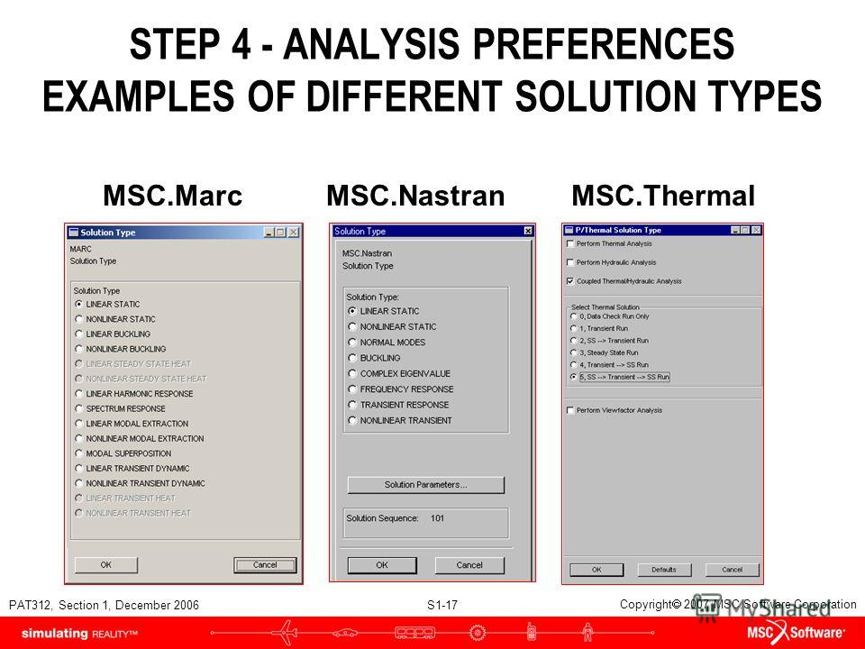 PAT312, Section 1, December 2006 S1-17 Copyright 2007 MSC.Software Corporation STEP 4 - ANALYSIS PREFERENCES EXAMPLES OF DIFFERENT SOLUTION TYPES MSC.MarcMSC.NastranMSC.Thermal